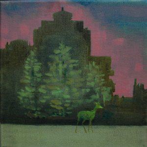 Green Deer · November, 2016 · oil on canvas · 8×8″