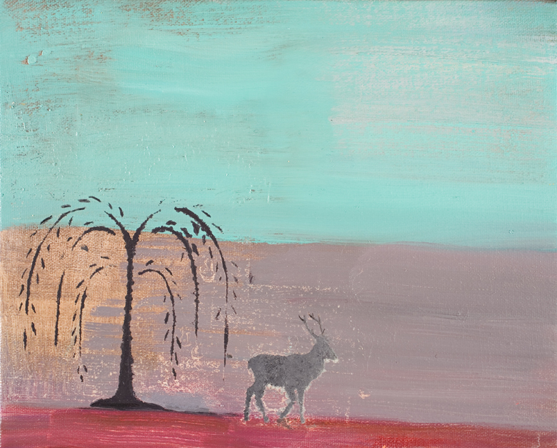 Tree Deer No. 2 · 2002 · oil on canvas · 8 × 10″
