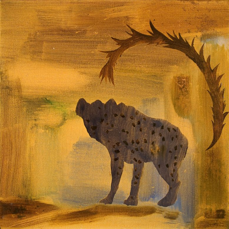Spotted Hyena #2 · 2005 · Oil on canvas · 12 × 12″