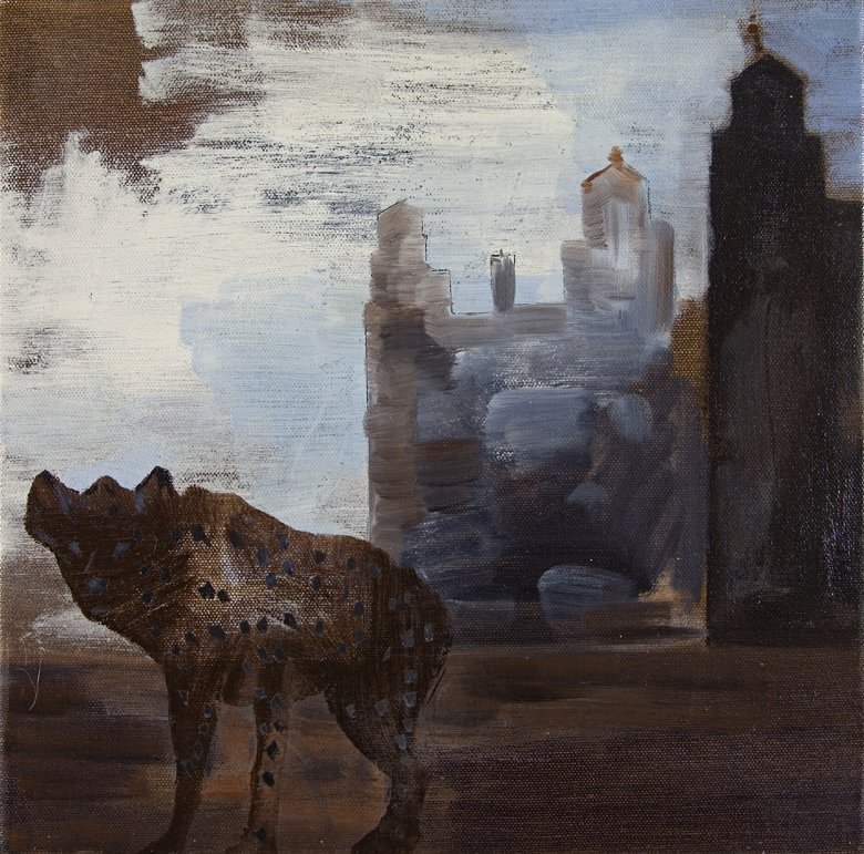 Spotted Hyena #4, 2006, Oil on canvas, 12 × 12″