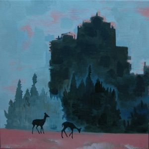Two Deer with Industrial Structure No. 1 · May, 2016 · oil on canvas · 12×12″