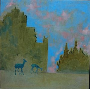 Two Deer with Industrial Structure No. 2 · May, 2016 · oil on canvas · 12×12″ · Collection of the City of Moncton
