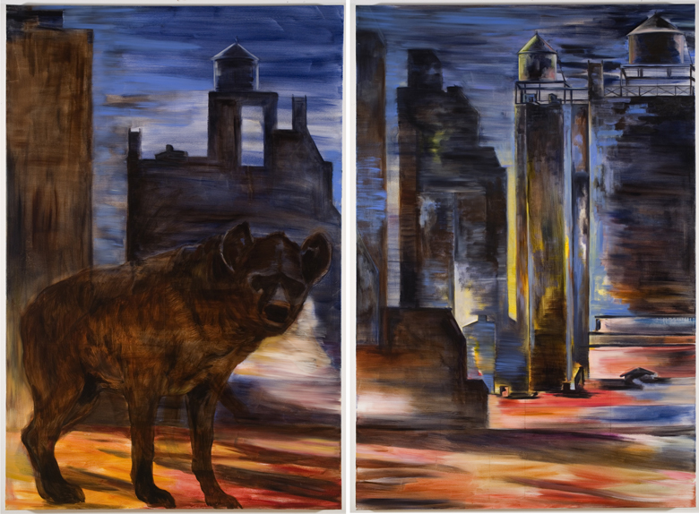 Hyena (diptych) · 2006 · oil on canvas · 72 × 96″