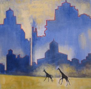 Two Giraffe with Industrial Structures · April, 2018 · oil on canvas · 12 × 12″