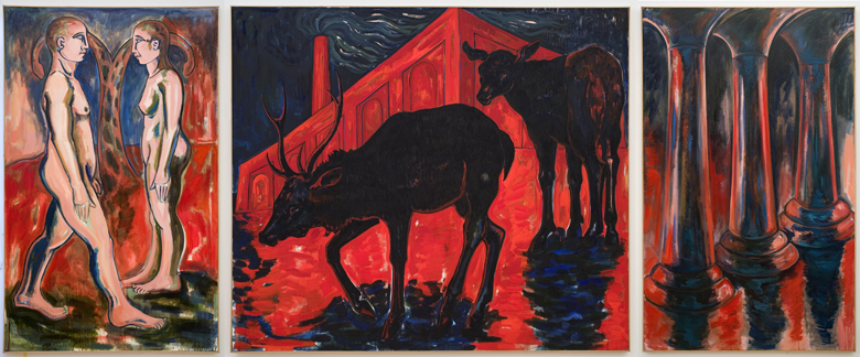 Encounter (triptych) · 1990 · oil on canvas · 78 × 186″